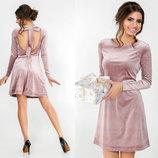 Элегантное вечернее короткое платье 5383 Велюр Клёш Спина Бант в расцветках.