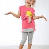 Комплект футболка-капри для девочки 2-11 лет - 11 расцветок