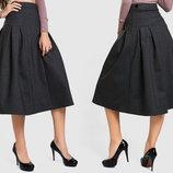 Стильная женская юбка средней длины 5379 Алекс Кокетка Складки Принт в расцветках.