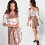 Элегантное короткое вечернее платье 5362 Велюр Плиссе Мини в расцветках.