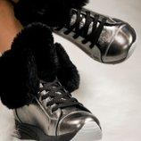 Зимние кроссовки, цвет никель. Натуральная кожа.