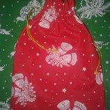 Мешочек для конфет новогодний подарочный красный зеленый синий серый