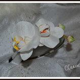 Ободок Белоснежные орхидеи