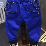 Теплые джинсы коттон на меху р. 7-11