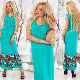 Элегантное летнее длинное платье 199 Штапель Вышивка Шнуровка в расцветках.