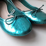 Классные балетки бирюзовые металлик