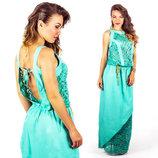 Летнее стильное длинное платье 555 Штапель Кружево Диагональ в расцветках.
