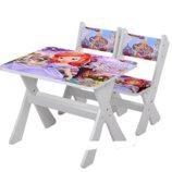 Столик и два стульчика деревянные Принцесса София М 2100-07