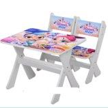 Столик и два стульчика деревянные Shimmer and Shine М 2100-14