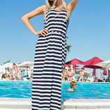 Стильное длинное летнее платье Полоска Макси Карманы Поясок .