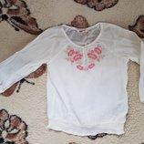 Блузка вышиванка H&M 8-10 лет, молочная с вышивкой, хлопок