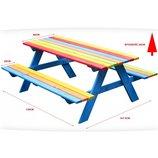 Деревянный стол с лавочками для детей 120x100. Польша. Ka