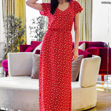 Длинное летнее лёгкое платье Штапель Сердечки в расцветках.
