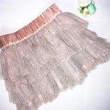 Золотистая юбка Фатин р.ХS -S талия 60-84, дл. 34