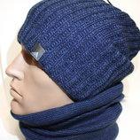 Удлиненная шапка на флисе теплая 54-60р