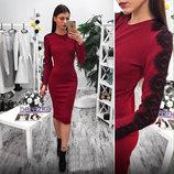 Элегантное женское платье средней длины 5089 Трикотаж Рукава Кружево в расцветках.