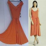 Брендовое платье миди асимметричной длины а-силуэт с поясом xl 50-54 рр