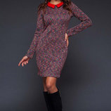 Элегантное женское платье средней длины 494 Жаккард Абстракция Воротничок в расцветках.