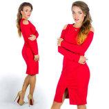 Элегантное женское платье средней длины 577 Плечи Разрез Подвеска в расцветках.