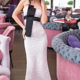 Кремовое коктейльное платье рыбка длинное в пол, размер 42