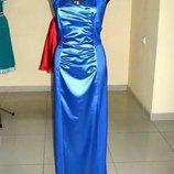 Коктейльное платье длинное электрик, размер 46 украинский