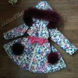 Детская курточка балерина с натуральным мехом