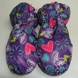 Варежки фиолетовые - сердечки