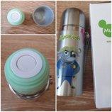 Детский термос для напитков и чая с клапаном ZooTopiA серебристый 350мл