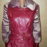 Эксклюзивная стильная куртка queen style, Крупная Вязка Натуральная Кожа