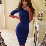 Классическое платье-футляр до колена трикотажное все цвета с 40 по 52 с круглым вырезом повседневное