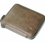 Коричневый мужской кожаный винтажный портмоне кошелек бумажник на молнии, натуральная кожа