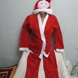 Детский костюм Санты куртка штаны шапочка готовимся к Новому году