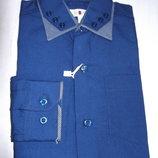 Рубашка слим тёмно-синяя хлопок ZOOR 7-12