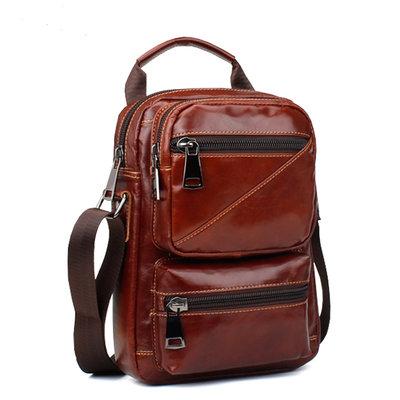 b493eb6cc8f3 Молодежная мужская кожаная сумка, рыжего, коричневого цвета, натуральная  кожа