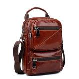 Молодежная мужская кожаная сумка, рыжего, коричневого цвета, натуральная кожа