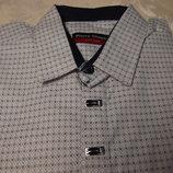 Рубашка кнопки стрейч-коттон Pierre Chapini белая с синим рисунком