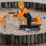 Большой детский экскаватор бульдозер со шлемом, игрушка машинка Польша. И