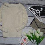 S/26 Женский фирменный свитер джемпер крупной вязки с камнями