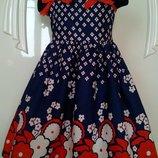 Новое Летнее платье Синий бантик ,100% хлопок