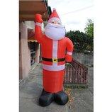 Надувной большой Дед Мороз Санта Клаус 190см светящийся Польша. И