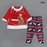 Новогодний костюм Рождественские олени для девочки туника и лосины