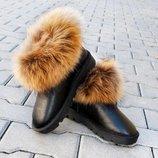 Угги женские кожаные с мехом Енота р 38, 39, 40 Распродажа Кожа Натуральная