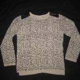 7-8 лет, красивый свитерок Zara с кожаными нашивками