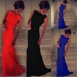 Платье в пол с шлейфом Ванесса 3 цвета