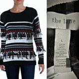 Эксклюзивный шерстяной свитер со скандинавским орнаментом и бахромой L