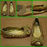 Bluezoo Нарядные золотые туфельки балетки 24 размер 16 см Новогодние