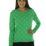 Свитер пуловер полушерстяной L на 48-50 р, мята в горошек
