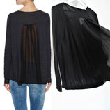Комбинированный свитер оверсайз Tahari с V-вырезом, длинными рукавами, спинка -шифон M