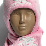 Качественная зимняя шапка, шапочка, ушанка с шарфом Dembohouse с шерстяной отделкой, 6 мес.-2 года