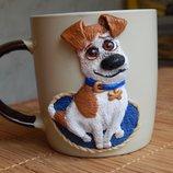 Авторская чашка декорированная полимерной глиной Песик
